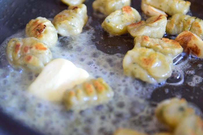 easy sage butter gnocchi - adding butter