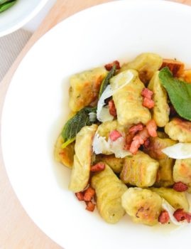 Pan Seared Basil Gnocchi with Sage Butter