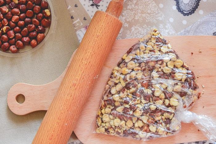 crushing the hazelnuts