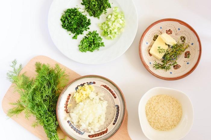 parmesan rice herbs - ingredients
