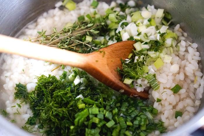 savoury parmesan rice - add herbs